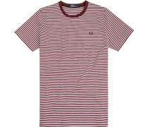 Herren T-Shirt Baumwolle bordeaux-weiß gestreift