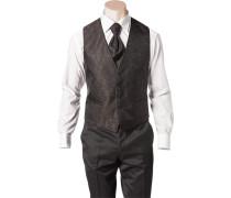 Herren Anzug Weste Slim Fit Microfaser kastanienbraun-schwarz gemustert