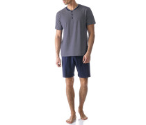 Herren Schlafanzug Pyjama, Baumwolle, blau gemustert