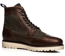 Herren Schuhe Stiefeletten Leder-Wolle braun-olivgrün