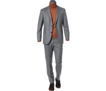 Herren Anzug, Slim Fit, Schurwolle, grau meliert