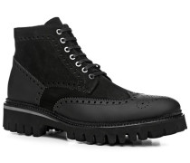 Herren Schuhe Stiefeletten, Leder warm gefüttert, schwarz