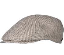 Herren   Sportmütze Leinen braun-weiß gemustert