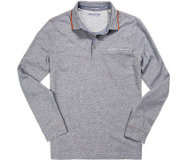 Herren Polo-Shirt, Baumwoll-Jersey, nachtblau meliert