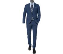 Herren Anzug Slim Fit Wolle blau meliert