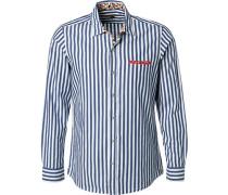 Hemd Baumwolle navy-weiß gestreift