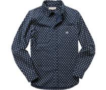 Herren Hemd, Popeline, marine-ecru gepunktet blau