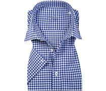 Herren Hemd Comfort Fit Baumwolle blau-weiß kariert