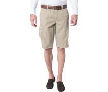 Herren Hose Bermuda Modern Fit Baumwolle beige