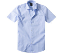 Herren Hemd Popeline bleu-weiß gestreift blau