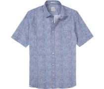 Herren Hemd Modern Fit Leinen-Baumwolle blau gemustert