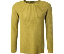 Herren Pullover, Wolle-Kaschmir, limone grün