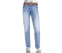 Herren Cosy Jeans Regular Slim Fit Baumwoll-Jersey hellblau