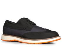 Herren Schuhe Brogues Microfaser schwarz-dunkelblau