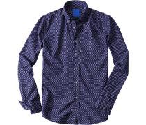 Herren Hemd Baumwolle dunkelblau gemustert