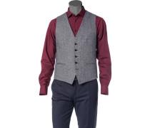 Herren Anzug Weste Wolle-Seiden-Mix dunkelblau gemustert