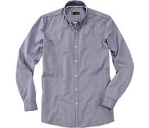 Herren Langarmhemd Baumwolle dunkelblau-weiß