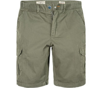 Herren Hose Cargo-Shorts Regular Fit Baumwolle oliv