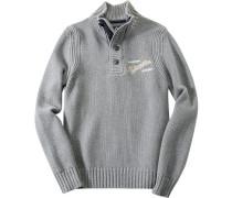 Herren Pullover Troyer Baumwoll-Mix grau