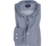 Herren Hemd Regular Fit Twill blau-weiß gestreift