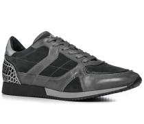 Schuhe Sneaker, Leder-Textil, carbone