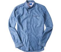 Herren Hemd Baumwolle hellblau gemustert