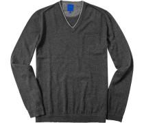 Herren Pullover Baumwolle-Kaschmir-Mix grau meliert