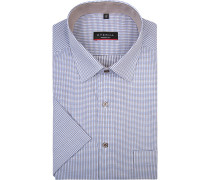 Herren Hemd, Modern Fit, Baumwolle, blau gemustert