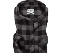Herren Hemd, Flanell, schwarz-grau kariert
