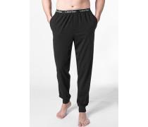 Herren Pyjamahose Baumwoll-Stretch schwarz