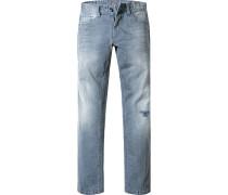 Herren Jeans Straight Fit Baumwoll-Stretch tauben