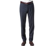 Herren Hose, Shape Fit, Schurwolle Super120 Reda, marine gestreift blau