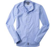 Herren Hemd Shaped Fit Baumwolle hellblau meliert