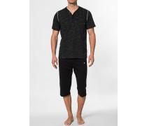 Herren Schlafanzug Pyjama Baumwolle schwarz