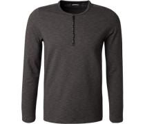 Herren T-Shirt Longsleeve, Baumwolle, anthrazit meliert grau