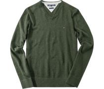 Herren Pullover Baumwolle-Leinen dunkelgrün meliert