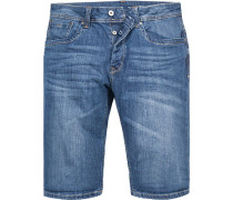Herren Jeansshorts Straight Fit Baumwoll-Stretch denim blau