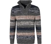 Pullover Troyer, Baumwolle, multicolour gestreift