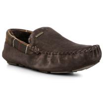 Herren Schuhe Mokassin Velourleder dunkelbraun