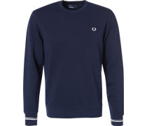 Herren Sweatshirt Baumwolle navy blau