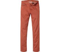 Herren Jeans Straight Fit Baumwoll-Stretch rost