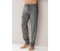 Herren Pyjamahose, Baumwolle, grau meliert