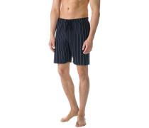 Herren Schlafanzug Pyjamashorts, Baumwolle, navy gestreift blau