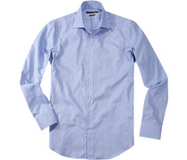 Herren Hemd Shaped Fit Baumwolle blau gestreift