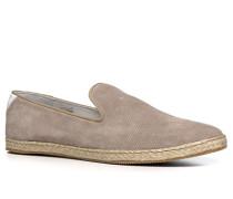 Herren Schuhe Slipper Veloursleder taupe beige