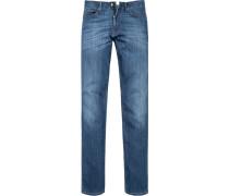 Herren Jeans, Regular Cut, Baumwoll-Stretch, indigo blau