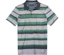 Herren Polo-Shirt Baumwolle -grün gestreift