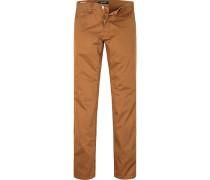 Herren Jeans Regular Fit Baumwoll-Stretch zimtbraun