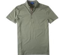 Herren Polo-Shirt Modern Fit Strukturgewebe khaki blau