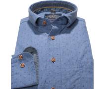 Herren Hemd, Casual Fit, Baumwolle, jeansblau gemustert